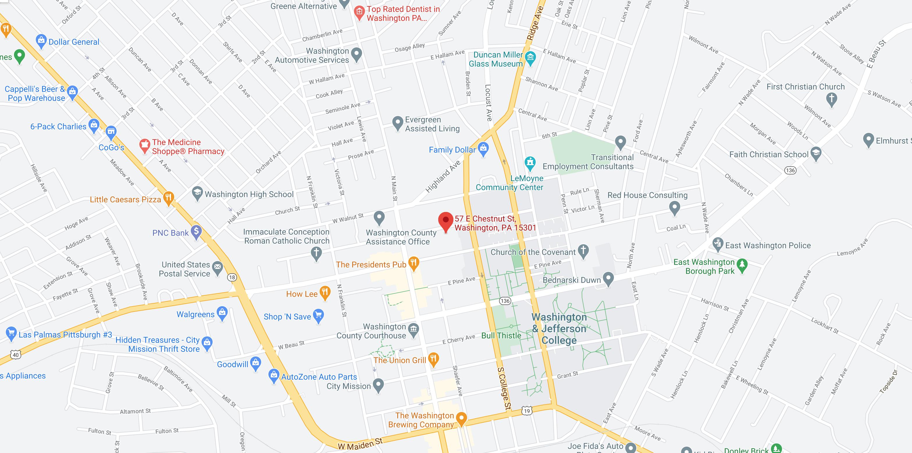 Map of Washington, PA showing the IGNITE location at 57 E Chestnut St, Washington, PA 15301
