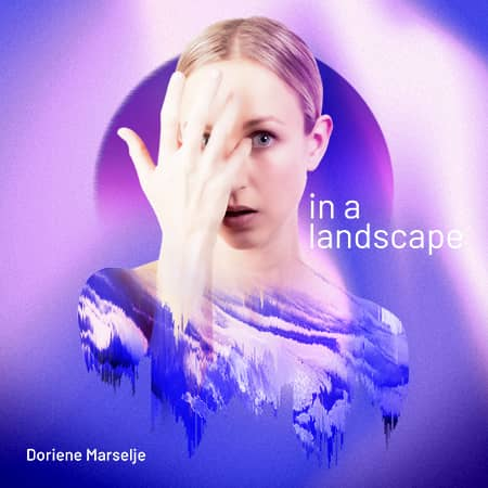 Album cover of Dorience Marselje. a mixed image of her and patterns sitting on a purple and pink gradient colour background.