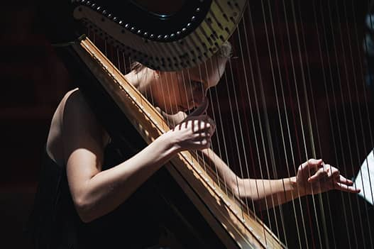 close up of doriene playing the harp. small light is shining on her while she concentrates.