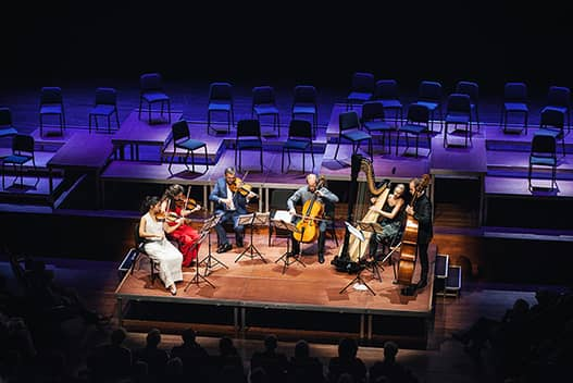 6 musicians playing violin and chello. dorience marselje playing harp in the middle with a view of the whole stage and dark back with empty seats.