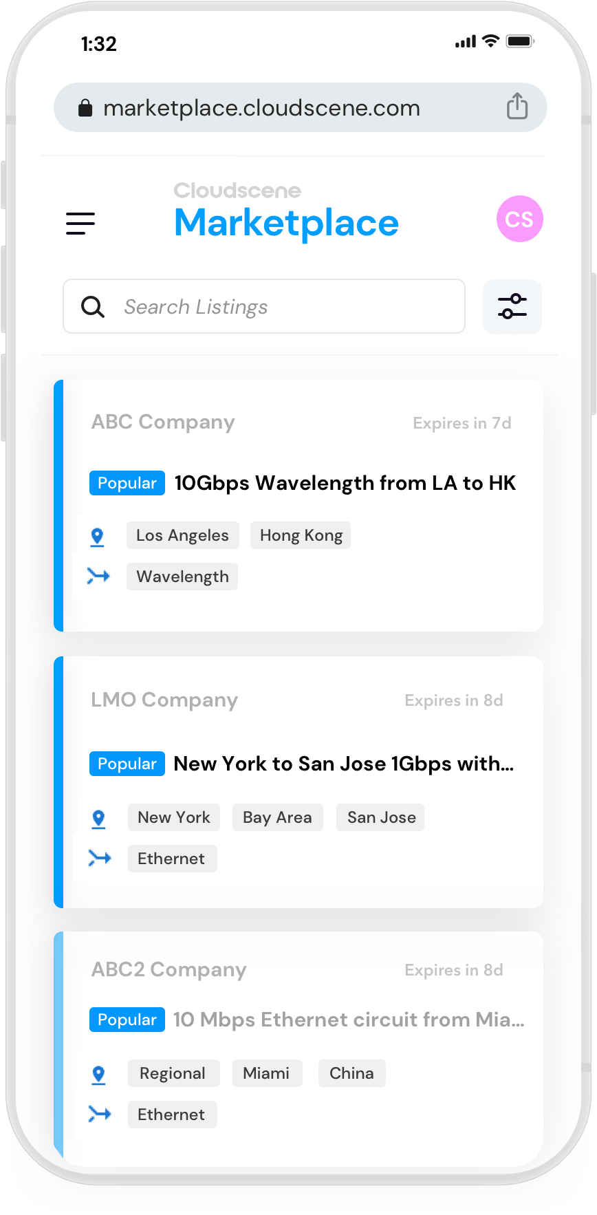 Screenshot of Cloudscene Marketplace listings view for Apple iPhone