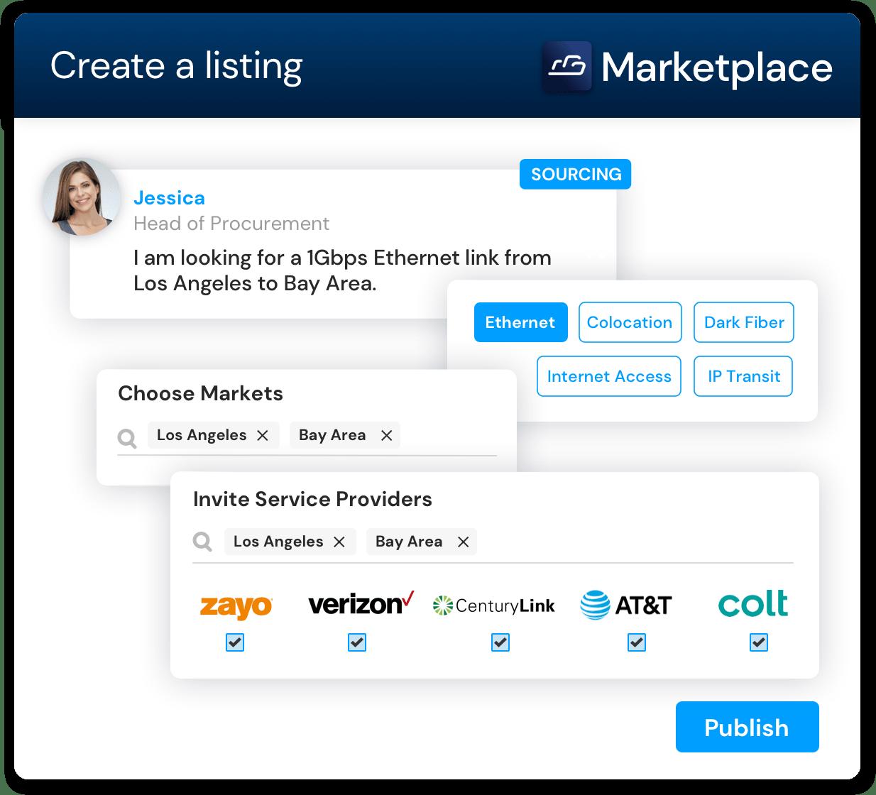 "Screenshot of Cloudscene's ""Create a Listing"" process for users"