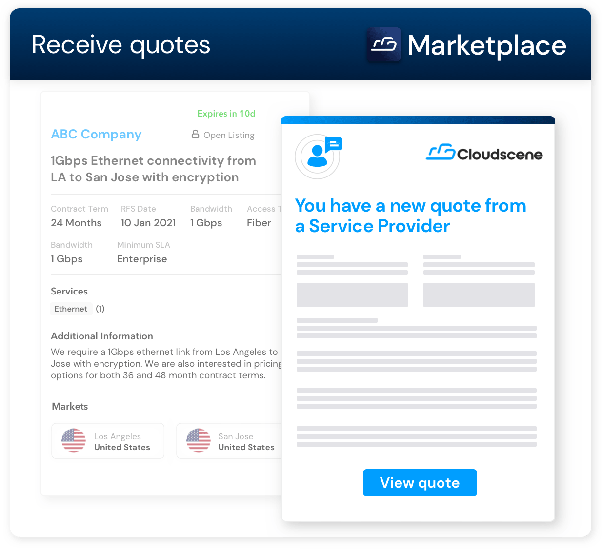 """Cloudescene Marketplace """"Receive a Quote"""" landing page example"""
