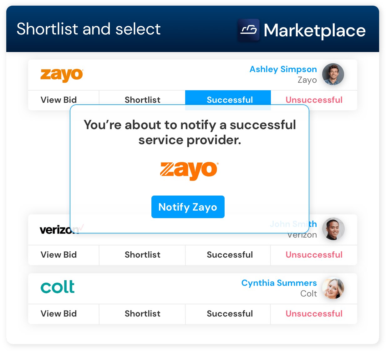 Cloudscene Marketplace Shortlist and Select process with which a pop up resulting stating you're about to notify a successful service provider