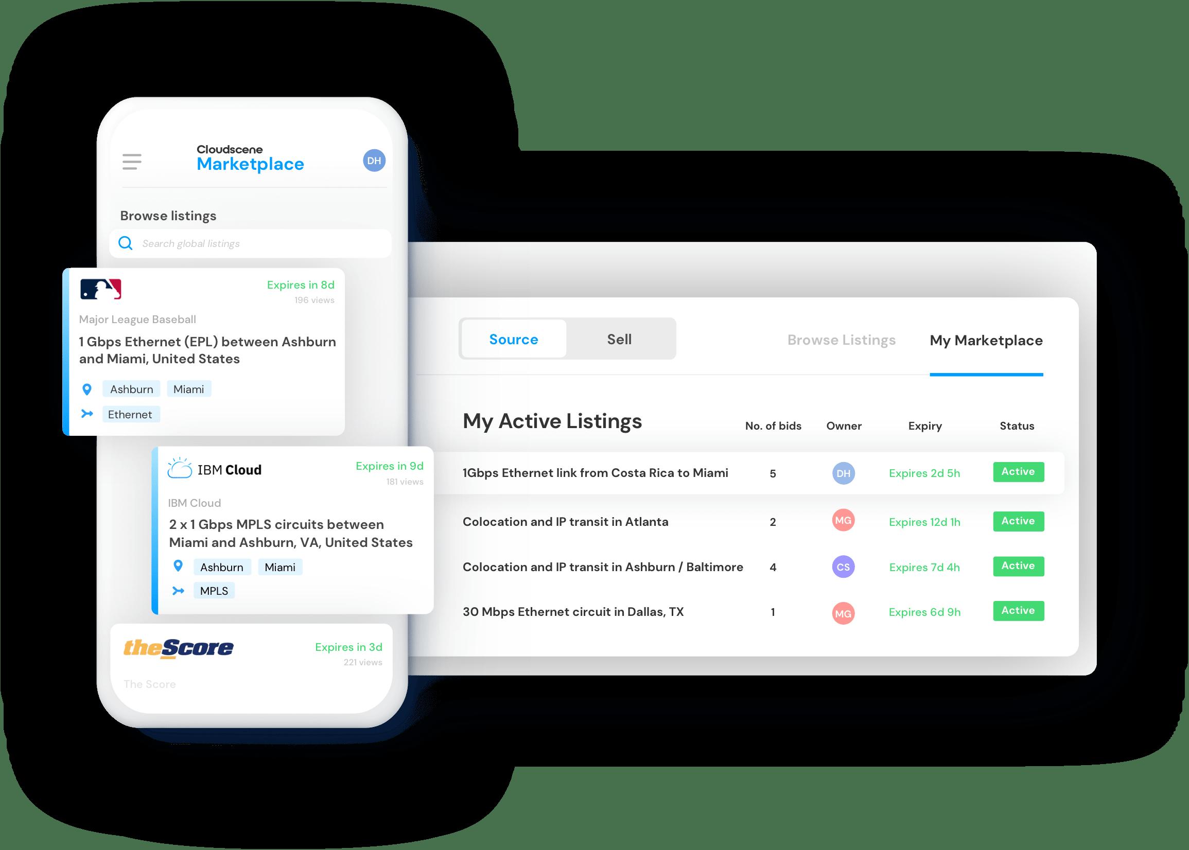 Screenshot showing Cloudscene's Marketplace listings