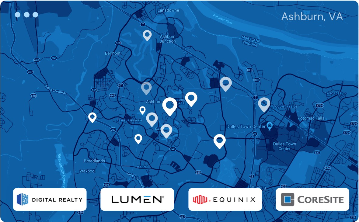 Ashburn, VA data center locations map. Company logos of Digital Realty, Lumen, Equinix and CoreSite presented at the footer