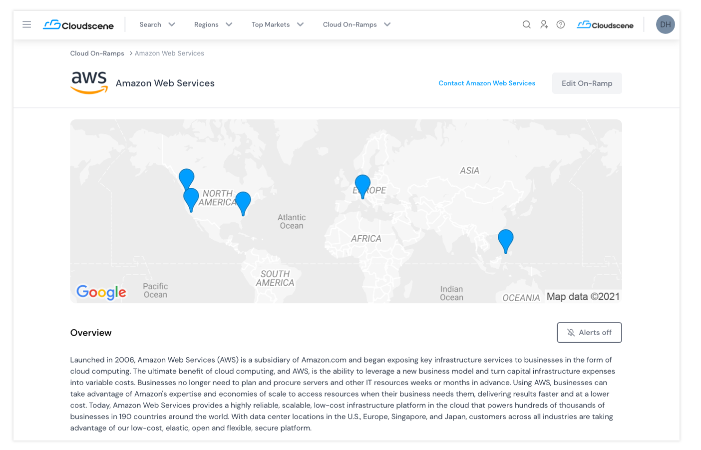 Screenshot of Amazon Web Services (AWS) company profile located within Cloudscene Cloud on-ramp section