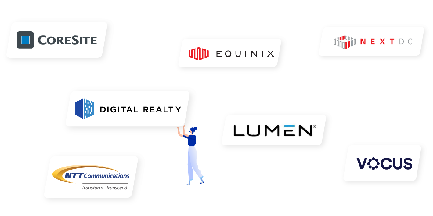 Cloudscene top accounts and their logos - image includes Coresite, Digital Realty, NTT Communications, Lumen, Equinix, NEXTDC and Vocus