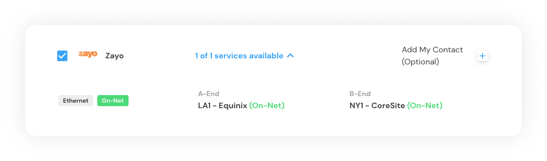 Example of Marketplace Match list of service providers