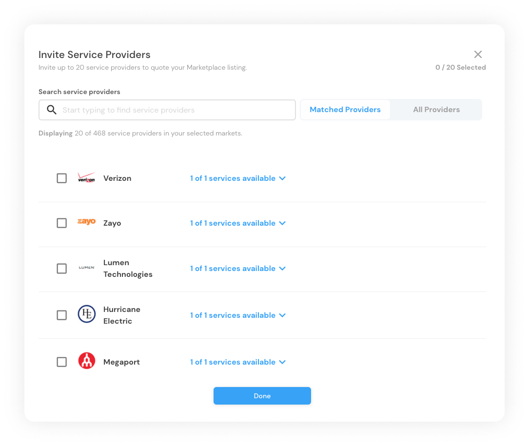 Screenshot of the process to invite Service Providers to a Cloudscene Marketplace Listing