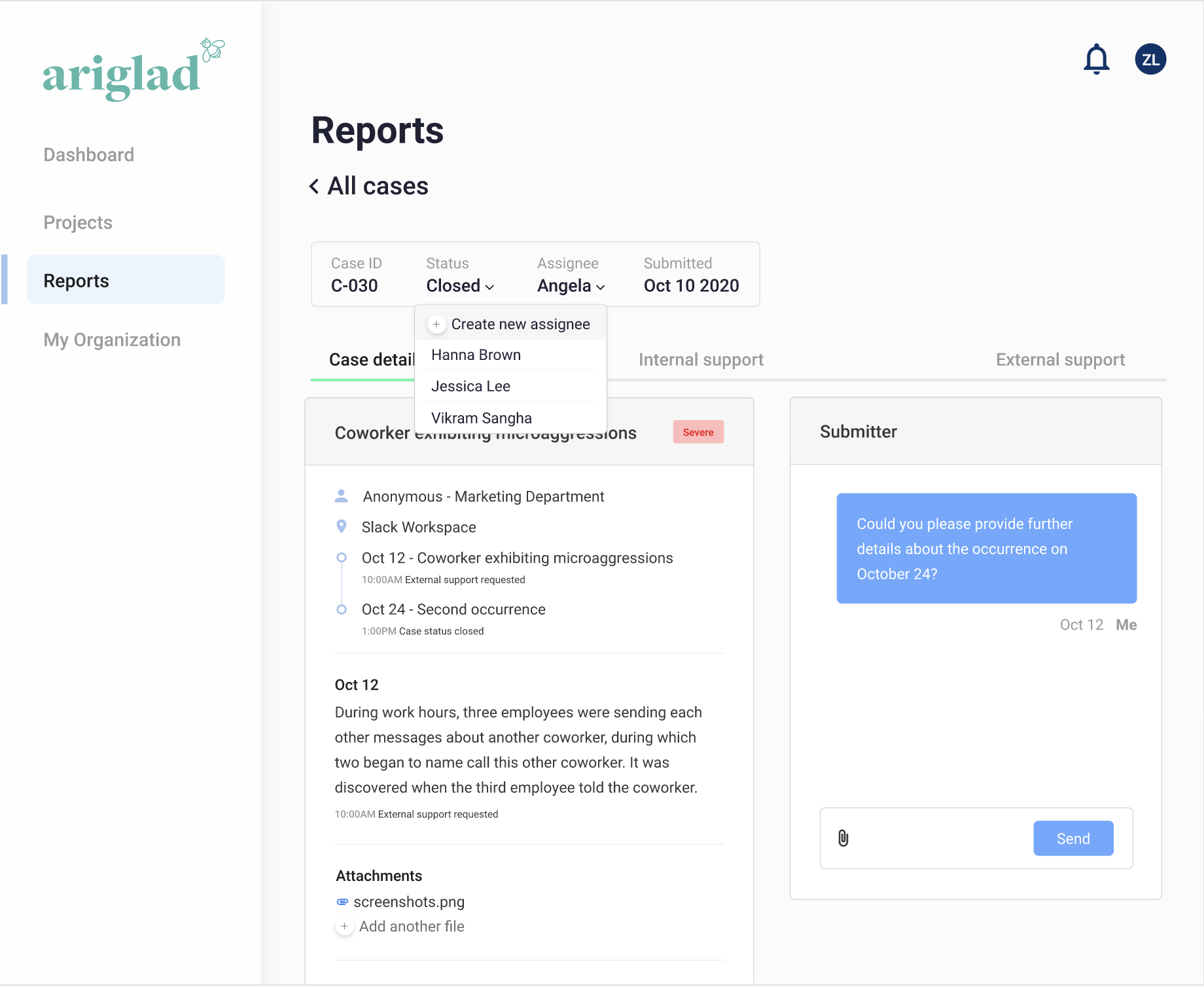 Image of how our reporting feature works