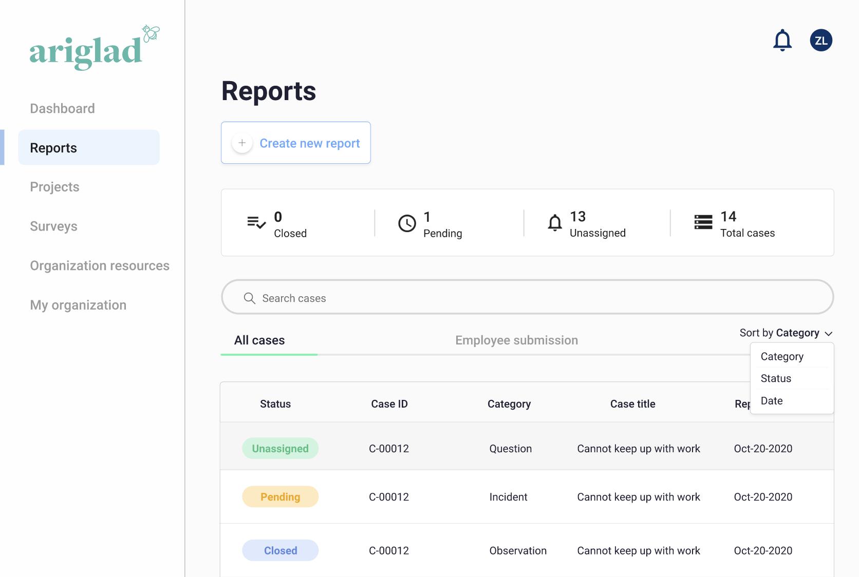 Screenshot of our case management platform