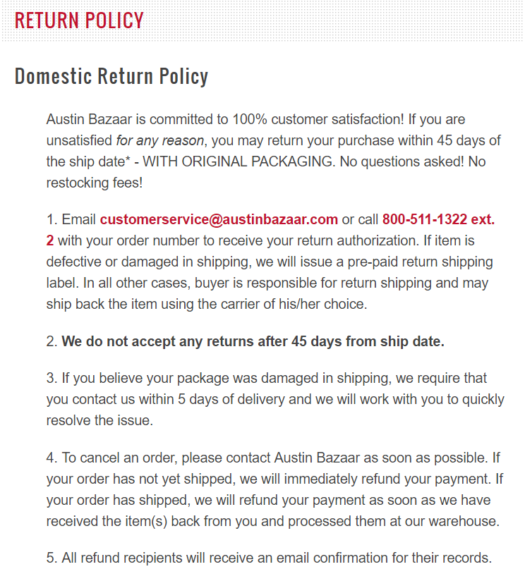 Return policy with free shipping example