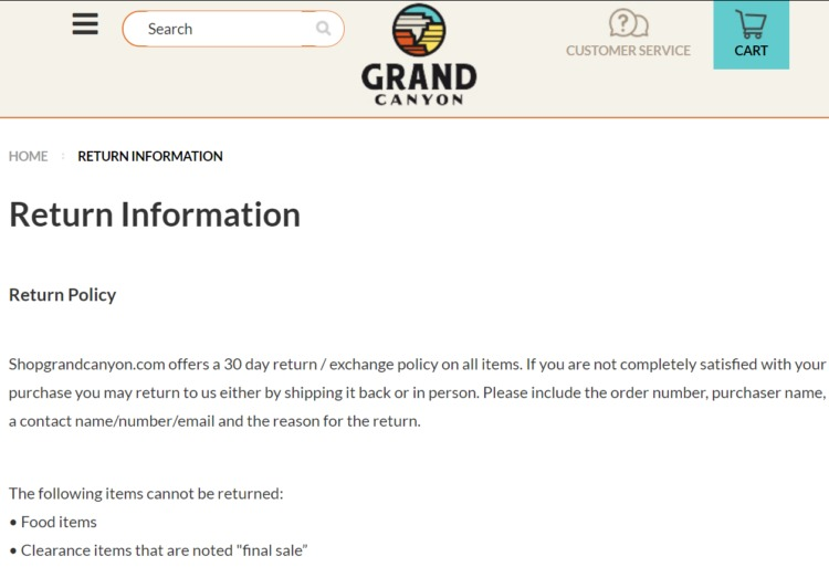 Transparent information in return policy
