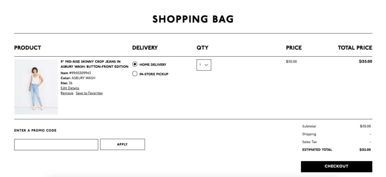 Example of product view on checkout