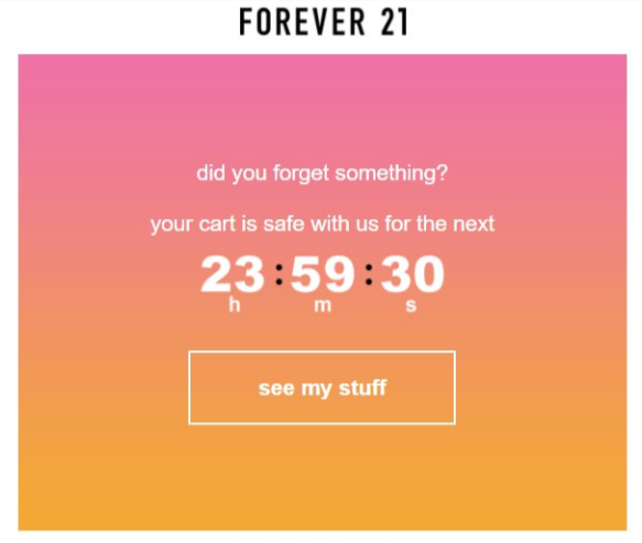 Email example from forever 21