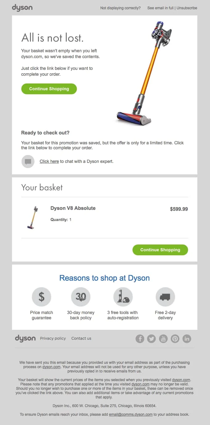 Email example from dyson