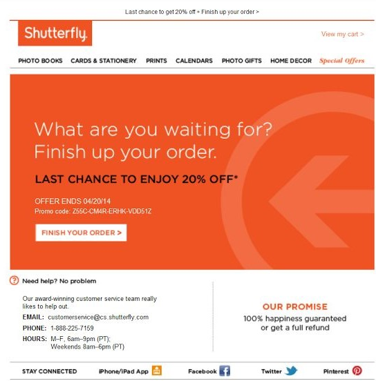 shutterfly cart abandonment email