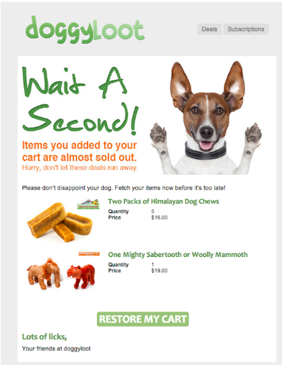 doggyloot cart abandonment email