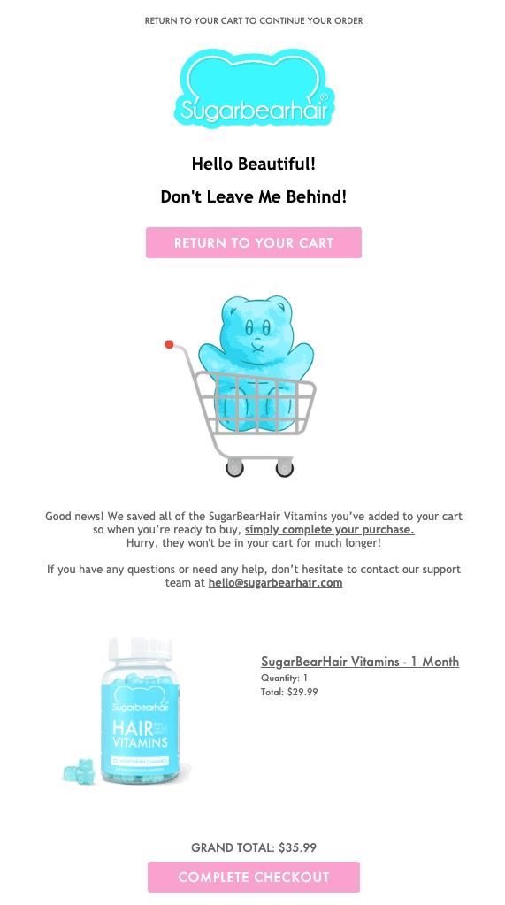 sugar bear hair cart abandonment email