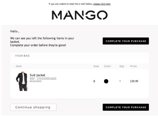 mango cart abandonment email