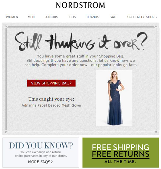 nordstrom cart abandonment email