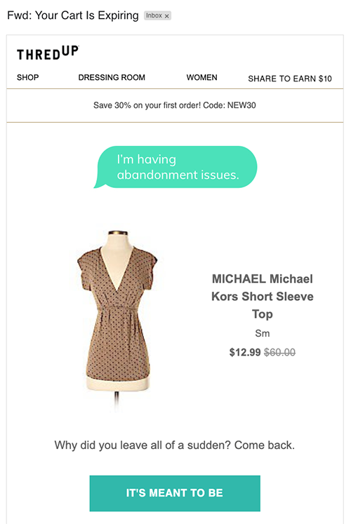 Email example from thredup