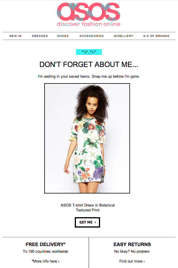 Email example from asos