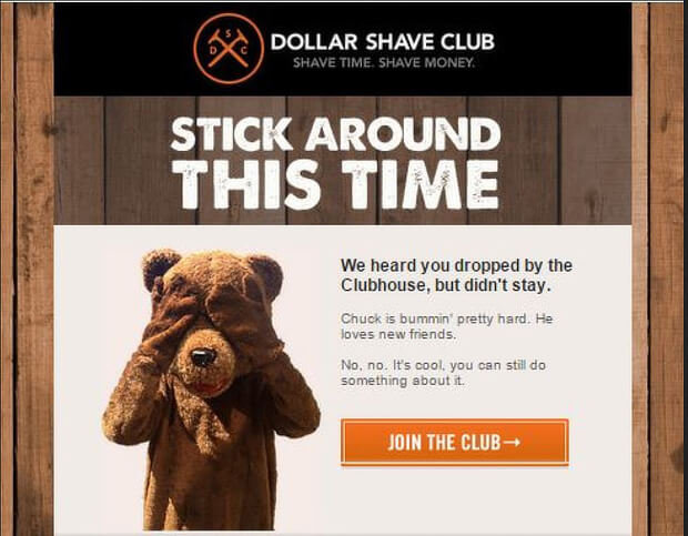 cart abandonment email dollar shave club