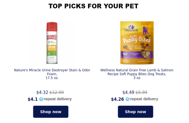 "Petco's ""top picks for your pet"""
