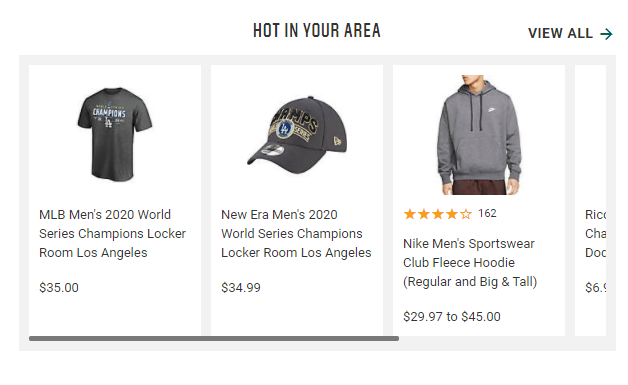 "Dick's Sporting Goods' ""hot in your area"""