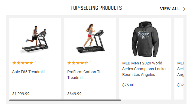 Dick's Sporting Goods top selling products