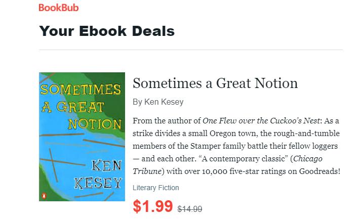 BookBub's your ebook deals