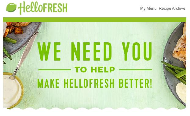 HelloFresh's feedback request