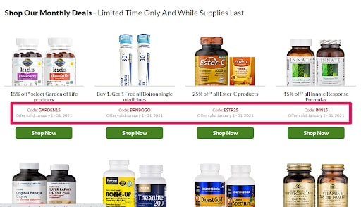 Example of deals and coupons to communicate scarcity