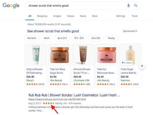 Customer reviews rank well on Google