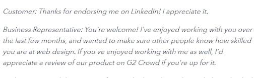 LinkedIn customer review