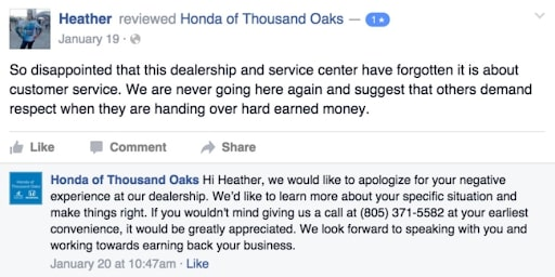 Replying to negative customer reviews is equally important