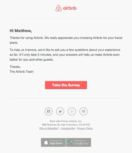 Airbnb customer review example