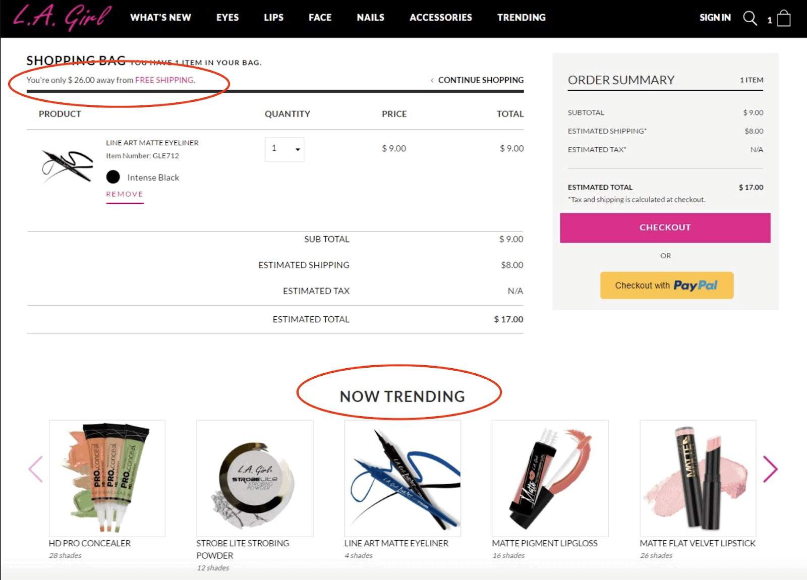 Example of upselling on the checkout page