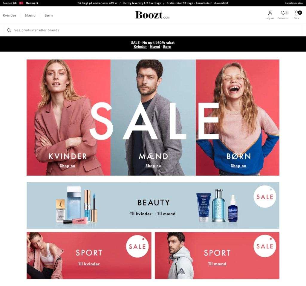 Example of homepage personalization