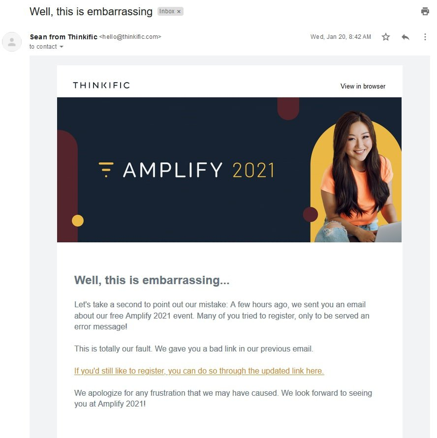 Example of apology email for broken link email