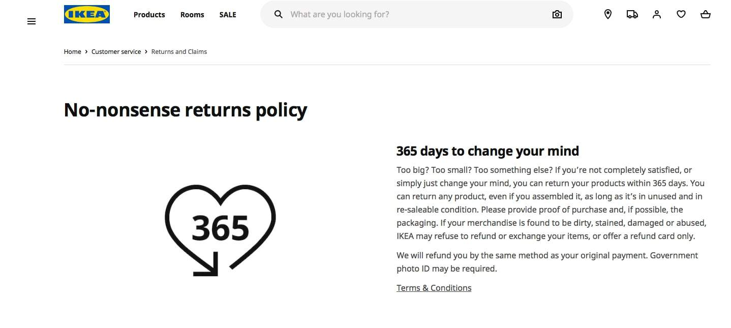 Example of the Ikea returns policy