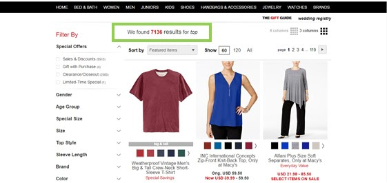 search term variations- macy's