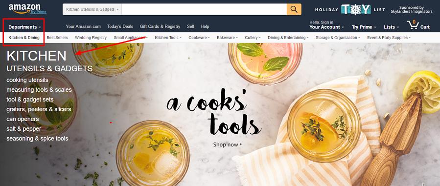 Amazon's categories