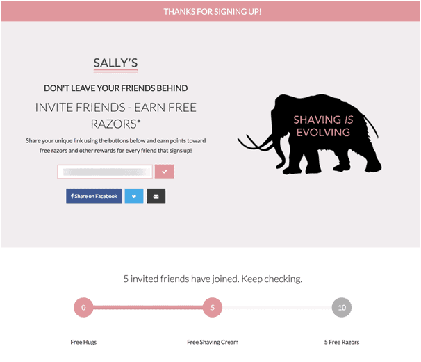 Sally's thanks you page