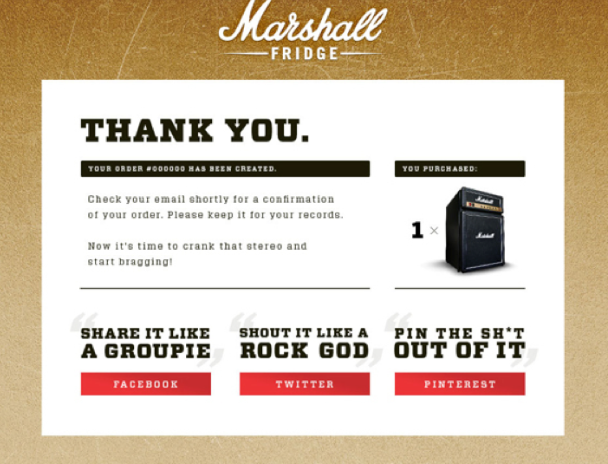 Marshall's thank you page
