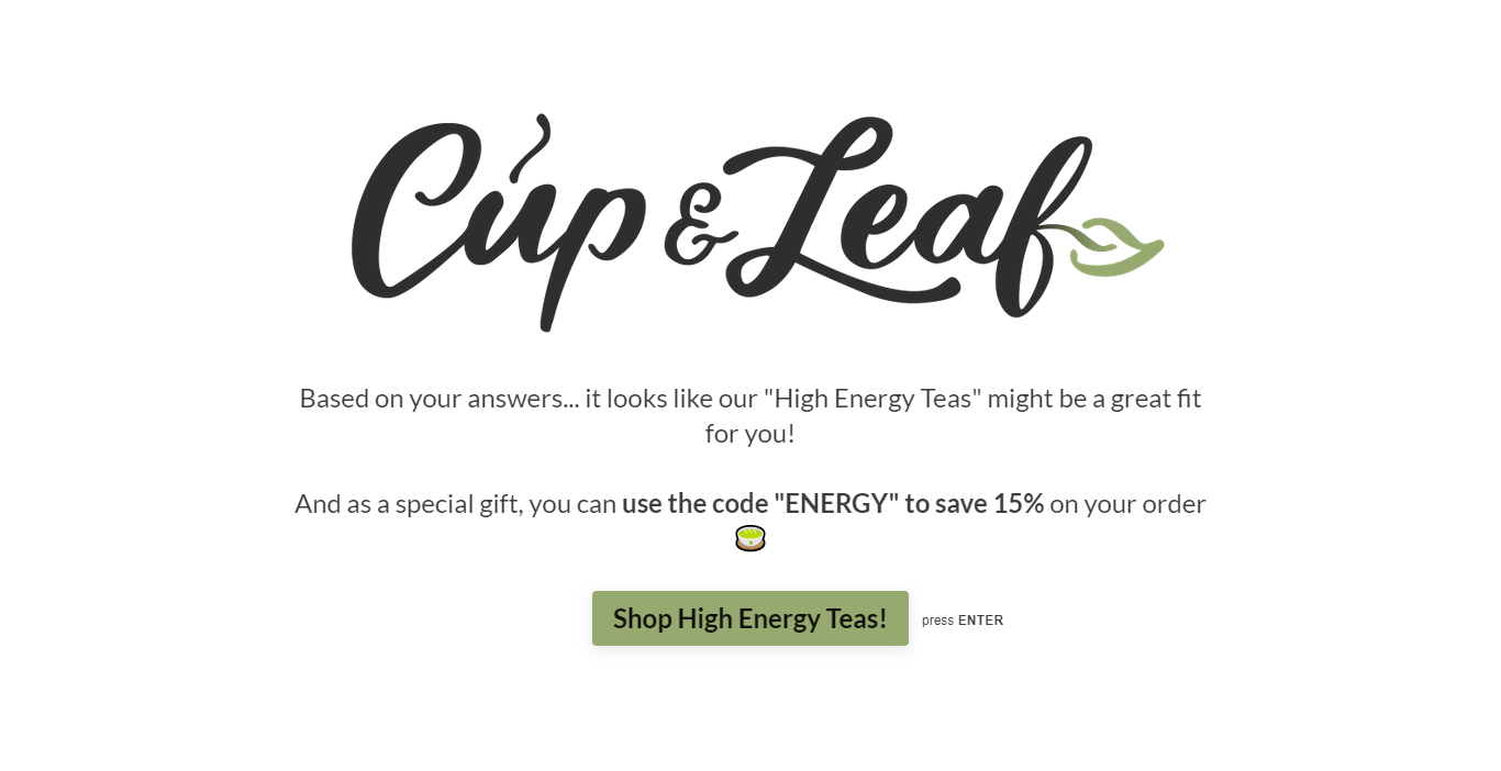 Cup & Leaf thank you page template
