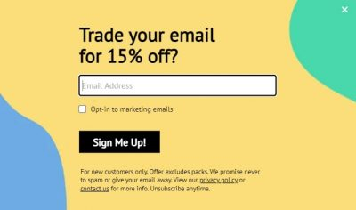 Personalized pop-up example