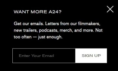 Example of  pop-up letting customers know what to expect before signing up